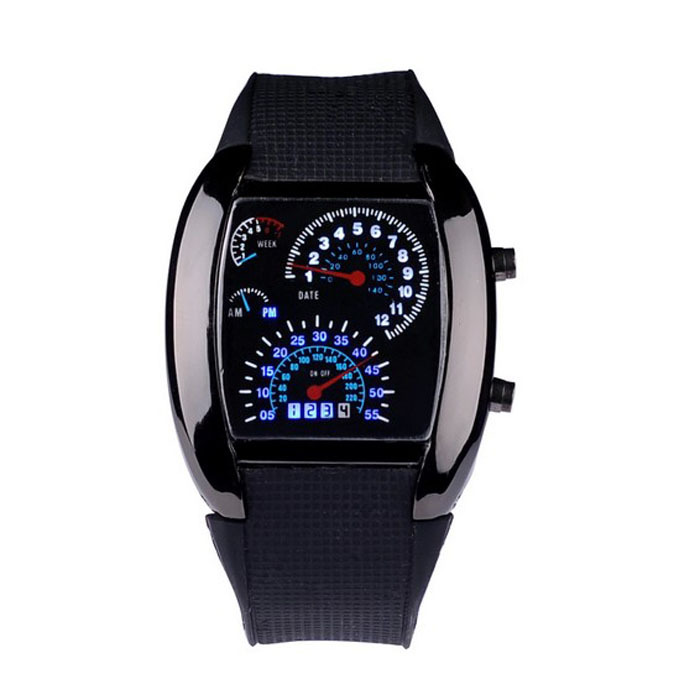 Fashion Relogio Masculino Aviation Turbo Dial Flash Watch Men LED Watches Gift Mens Lady Sports Car Meter Digital Watch Anne(China (Mainland))