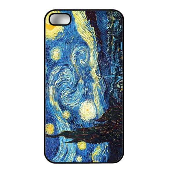 Cool Van Gogh Funny Star Sky Green Skin Custom Printed Hard Plastic Protective Phone Case Cover For Iphone 4 4S 5 5S 5C 6 6 Plus(China (Mainland))