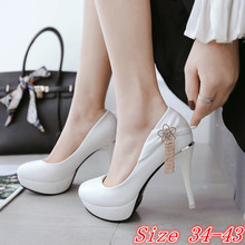 Buy Women High Heel Shoes Platform Pumps Woman High Heels Party Wedding Shoes Ladies Kitten Heels Plus Size 34 40 41 42 43 44 45 for $26.70 in AliExpress store