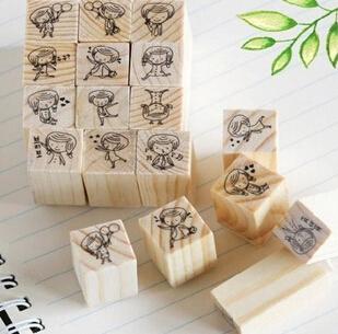 12 шт./компл. DIY скрапбукинг старинные деревянные марки украшения творческая девушка и BoyStamp подарочный комплект JJ0062