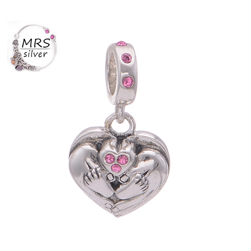 Tibetan Silver Heart Charm Pink Crystal Heart Silver S925 Heart And Feet Charms Beads For Women