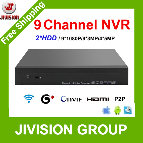 Гаджет  9CH NVR 1080P IP Recorder 2*HDD 4TB support 9CH 3MP 4CH 5MP IPCam NVR CCTV 9 Channel NVR WIFI 3G 1.5U Size with Audio IP DVR None Безопасность и защита