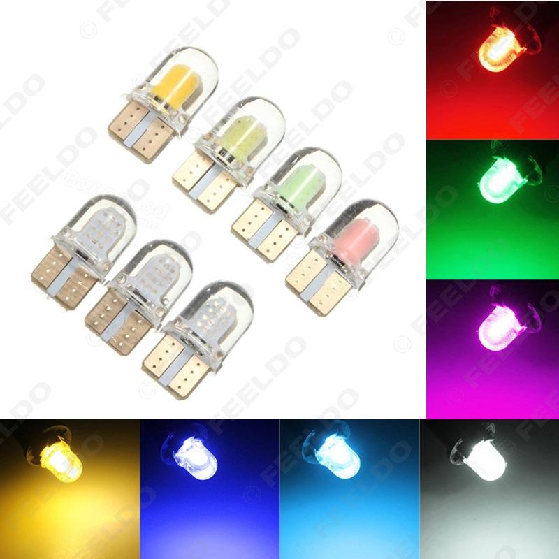 2Pcs Car T10 194 168 W5W COB 8SMD Silica Car LED Door License LED Light Bulb Wedge Light 7-Color #FD-2901(China (Mainland))
