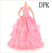 Girs Handmade  Party Doll's Dress Clothes For Barbie Doll Princess Wedding Clothes Baby Toys 1Pc(China (Mainland))