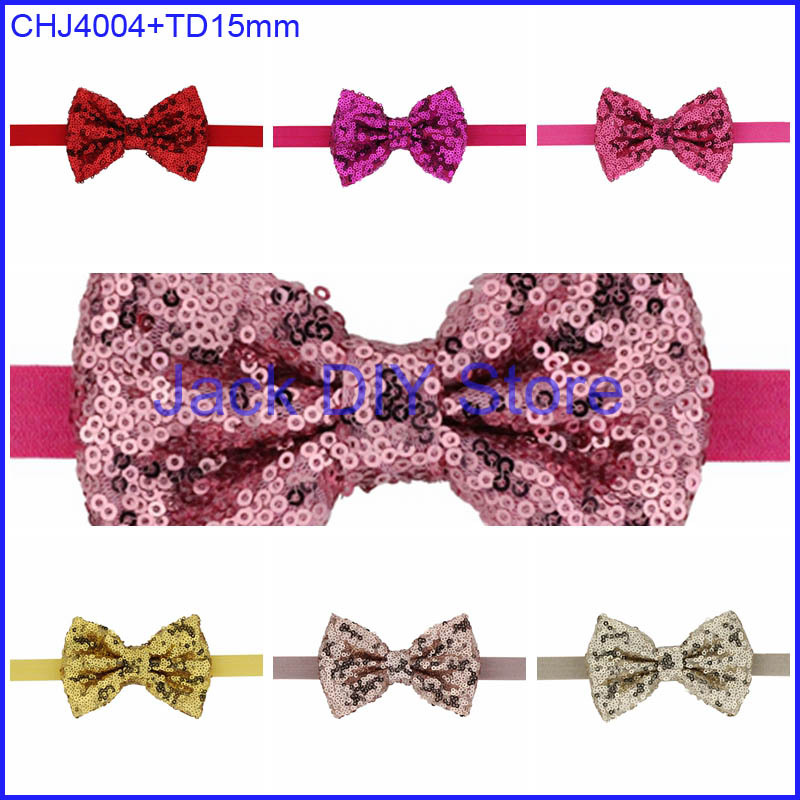 "Free Epacket/CPAP Shipping 4"" Sequin Bow Knot Bow FOE Elastic Headabnd Baby Headwrap hair accessories(China (Mainland))"