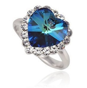 LOVE BEAUTY FOR ASHES TITANIC OF THE OCEAN SAPPHIRE BLUE HEART CZ RING SIZE 8 CLOVER1320N/501(China (Mainland))