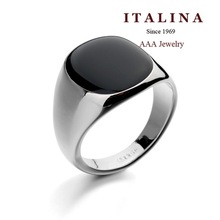 90650 High Quality Unisex Black Ring Platinum White Gold Plated Jewelry for Women and Men