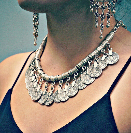 2015 Bohemian Flower Ethnic Antalya Yonca Silver Turkish Gypsy Boho Coachella Beach Choker Bib Coin Necklace Women - Handmade Jewelry Factory Store (No Min Order store)