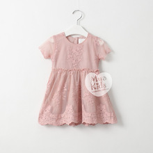 NEW Kids Girls Lace Dresses Baby Girl Spring Short Sleeve Dress Girl Princess Dress 2016 Children's Wholesale Clothing