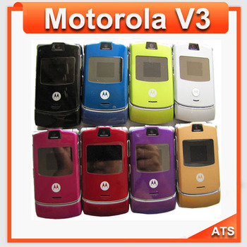 100% Original Motorola v3 Mobile Phone  unlocked Motorola v3  phone  English&Russian keyboard support  Free Shipping
