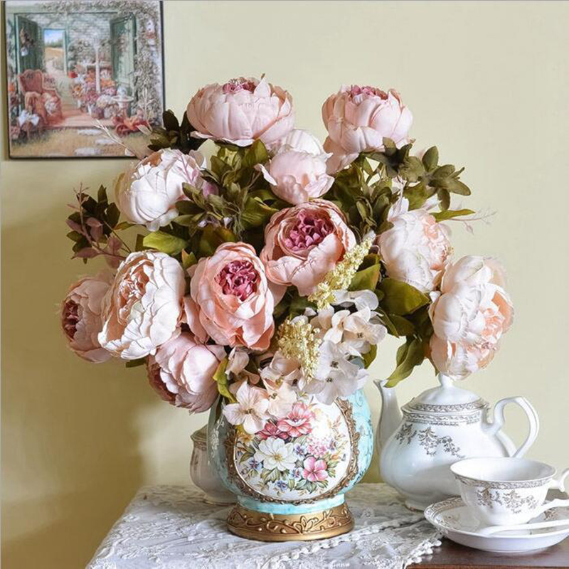 2016 New Leaf Peony One Bouquet Artificial Flower Home Wedding Flowers Fashion House Party Decor(China (Mainland))