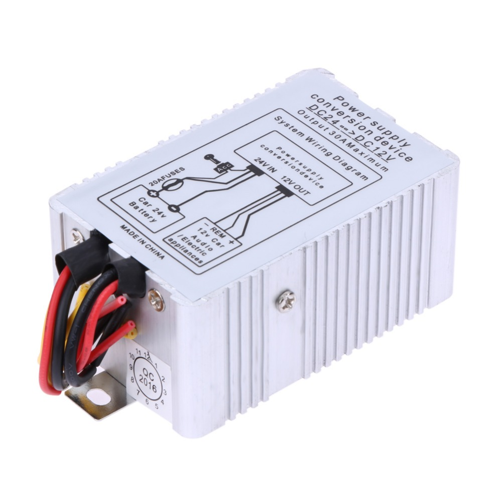24V to 12V DC-DC Car Power Supply Inverter Converter Conversion Device 30A Truck Lorry Battery Convert ME3L(China (Mainland))