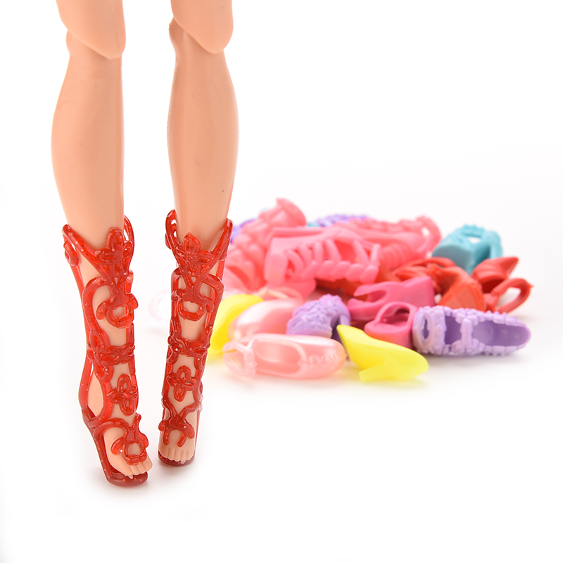 """12 Pairs =24 Pcs Lovely Dolls Shoes Heels Sandals For 11"""" Barbie Dolls Accessories Color Random(China (Mainland))"""