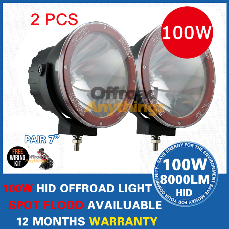 "2 Pcs 12V 100W 7"" Spot Beam Truck Boat Ffog Lamp ,Hid Driving Light ,HID Off Road Light,Hid Xenon Work Light(China (Mainland))"