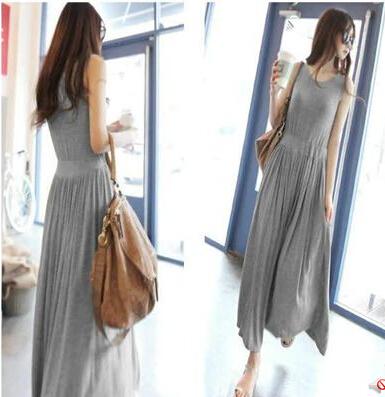Ms. Summer 2015 Korean version of the new dress modal dress waist was thin loose long paragraph vest, big yards(China (Mainland))