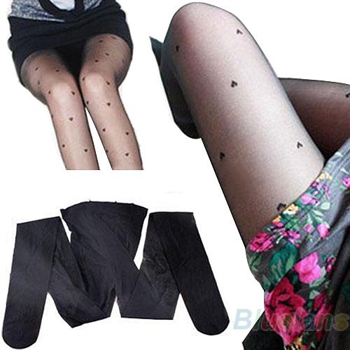 Women Fashion Black Pretty Peach Heart Style Pattern Jacquard Pantyhose Tights  04C5