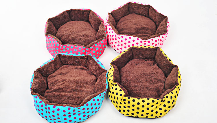 Free shipping cheap dog kennel small indoor pet house bed plush pet bed for dogs dots washable soft pet bed cat dog house(China (Mainland))