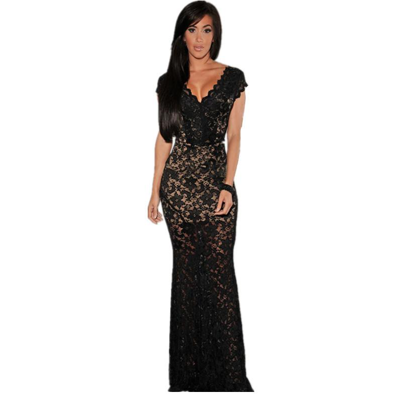 Women Formal Evening Party Dresses Sexy Black/Red Lace Nude Illusion V-Neck Low Backless Dress Lace 2015 Vestidos Longos LC6676