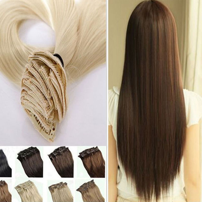US STOCK Long 100% Real Natural hair Extentions 8pcs Straight CLIP IN On HAIR EXTENSIONS Full head 18Clips DIY Hairstyle(China (Mainland))