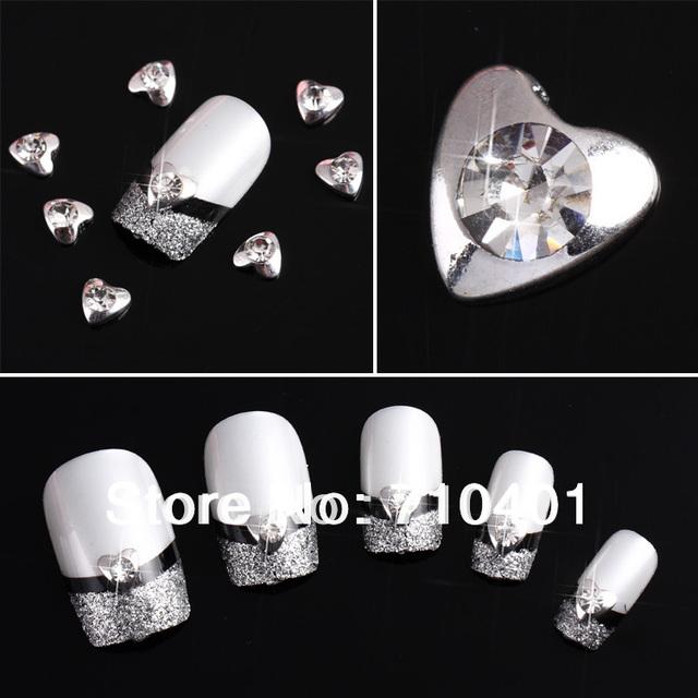 Hot Sale FREE SHIPPING Wholesale Xmas Silver Heart 50pcs 3D Alloy Rhinestone Nail Art Slice DIY Decoration Tool Gift Manicure