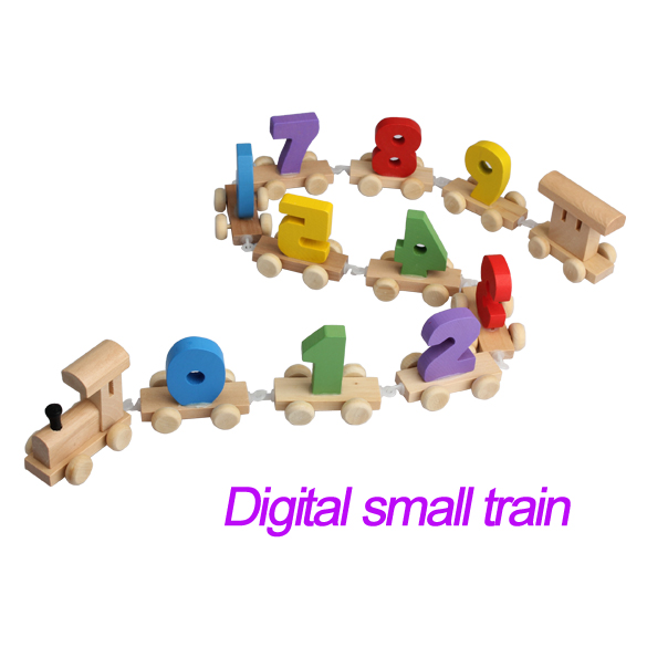 Free Shipping Digital Number Wooden Train Figures Railway Kids Wood Mini Educational Toy Baby Kids Children Gift Kid's Toy(China (Mainland))
