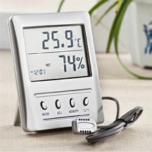 Alta calidad de alta precisión digital lcd interior exterior termómetro higrómetro con externa agente termómetro higrómetro cabeza