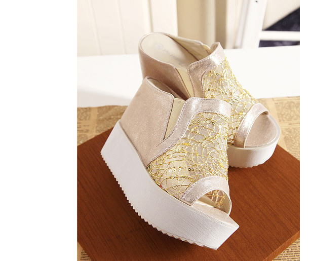New Arrival Women'S High Heels Fish Head Wedges Sandals Sequined Heavy-Bottomed Muffin Slippers Summer Gold/Silver Sandals S1853(China (Mainland))