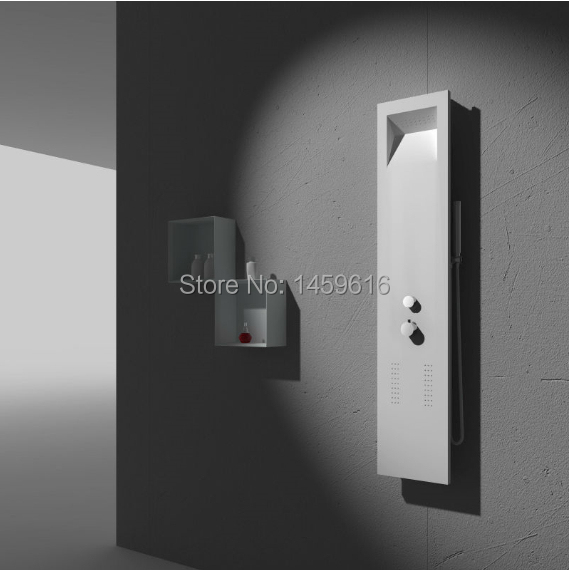 Wall hung Solid Surface Stone Shower Panel with thermostatic faucet shower Column WD0049(China (Mainland))