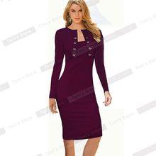 נחמד לנצח חורף ארוך שרוול כפתורי משרד עסקי שמלה אלגנטית בתוספת גודל נשים בציר Pinup Bodycon עיפרון שמלת b10(China)