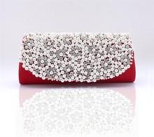 crystal Bride wedding bridesmaid bag pearl rhinestone silver gold banquet party clutch evening bag women handbag with chain