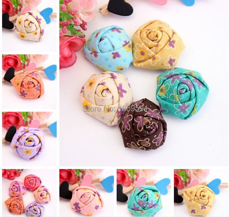 "100pcs Rolled Fabric Rosettes 1.3"" mini Rosette Flowers 10Colors all have stock Free Shipping(China (Mainland))"