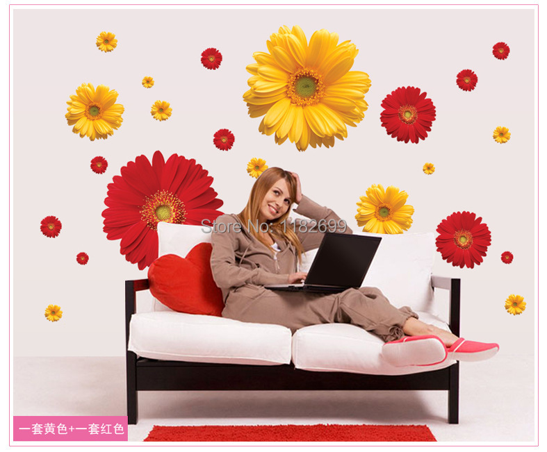 Factory Direc Popular Cheapest Wall Decorative Chrysanthemum Wall Stickers For Furniture Pink Red Orange For Choices(China (Mainland))
