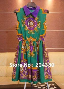 Free Shipping 2012 ECHO The same hit color visual impact Lapel folk style dress sleeveless, ladies dress, women dress, ball gown