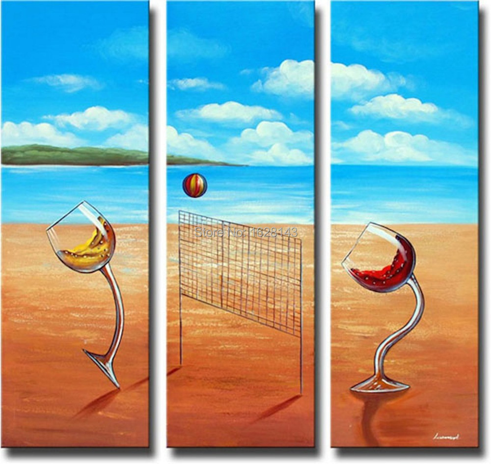 Handmade 3 Pieces Art Oil Picture Beach scenery Mediterranean sea Paintings On Canvas Leisure happy time Decor Sets For Wall(China (Mainland))