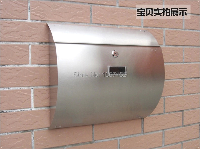 Stainless steel arc cottage mail box rain-proof rust-proof mailbox Wall Mount Metal Post Letters Box Thickening letter box(China (Mainland))