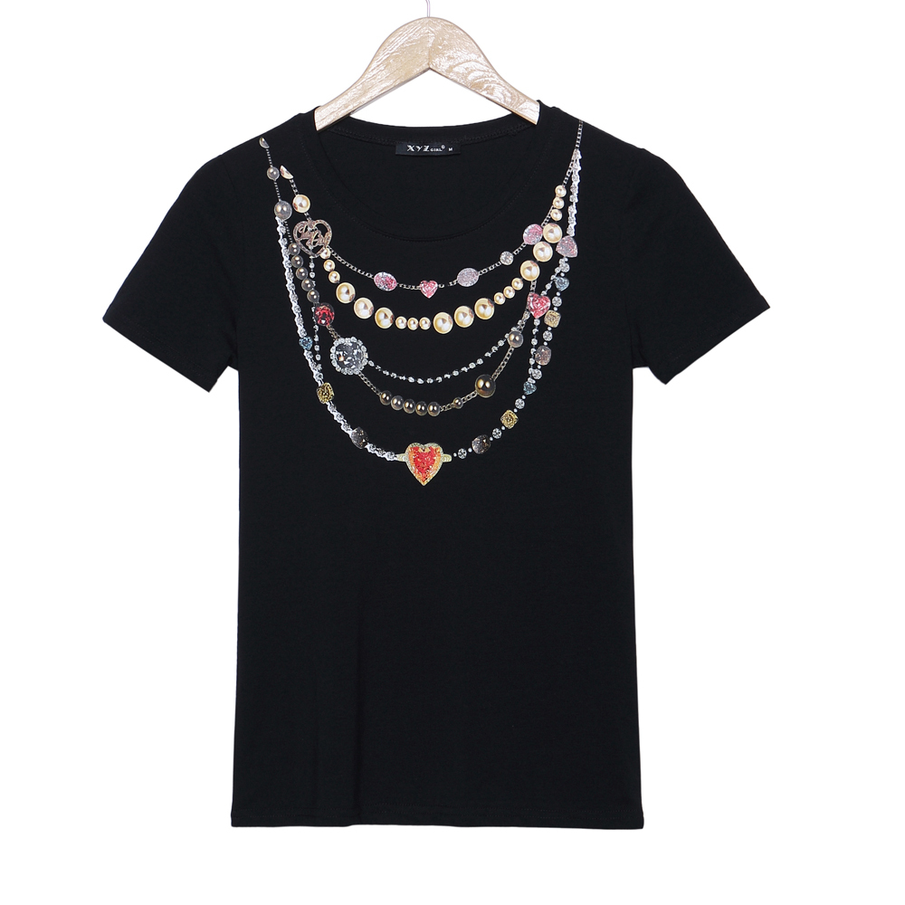 2015 new summer t shirt women necklace 3d printed t shirt for Gym printed t shirts