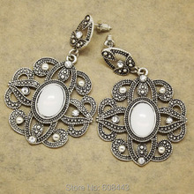 ER388 Antique Silver Bohemia Flower Retro Vintage Earrings For Women Lady 2015 New Jewelry Bijouterie(China (Mainland))