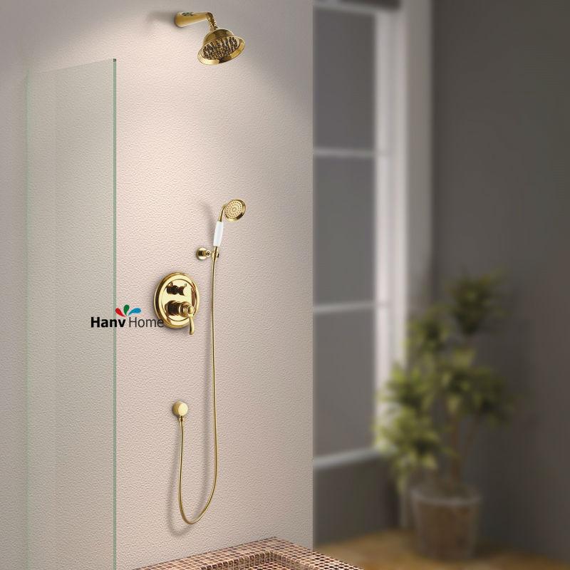 Gold Luxury Brass Bathroom Rain Shower Faucets Head Shower Set Handheld Sho