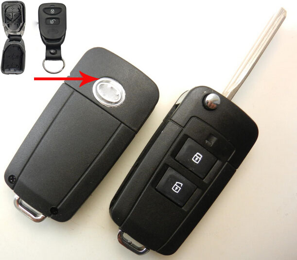 2 Buttons Uncut Blade Car Key Blanks Case For Hyundai New SantaFe Modified Flip Folding Remote Key Shell(China (Mainland))