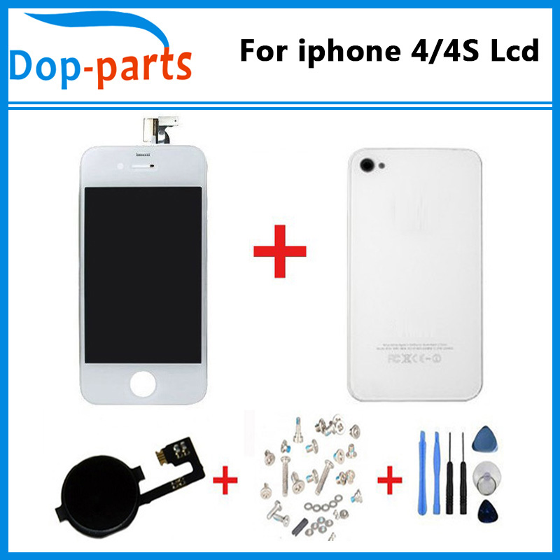 5PCS/LOT Touch Screen LCD Display Digitizer Glass Back Housing Cover Replacement part Mix model For iPhone 4 4G 4S Screw Tools(China (Mainland))