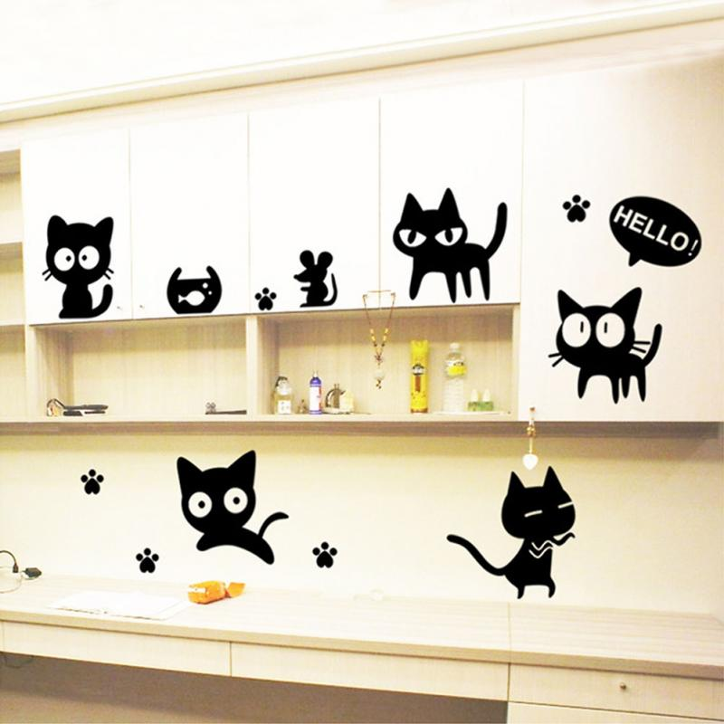 Home Decor Mural Art Wall Paper Stickers ~ New black cats diy wall sticker removable decal for
