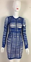 Сексуальное облегающее платье Вечерние для ночного клуба с длинным рукавом женское летнее 2018 Новое поступление синее Тканое Сетчатое Банд...(China)
