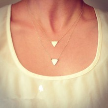 YWNZ2015-5 Free Shipping 2015 Fashion Jewlery Double Inverted Triangle Aolly Necklaces High Quality Necklaces