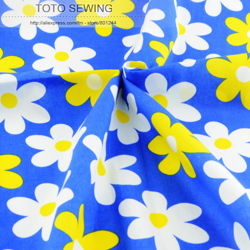 1 meter x 145 cm wide blue flower Printed cotton fabric kids fashion design garment sewing material quilting patchwork(China (Mainland))