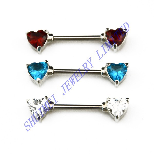 90Pcs Double Heart CZ Gem Crystal 316L Stainless Steel Nipple Shield Barbell Ring Cover Piercing Jewelry  New Fashion Wholesale<br><br>Aliexpress