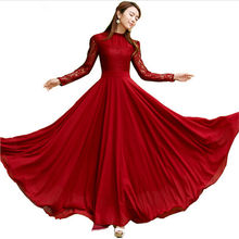 New 2016 Spring Autumn Elegant Vintage Lace Chiffon Long Dress Slim Long Sleeve Wine Red Party Maxi Dresses Vestidos D036(China (Mainland))