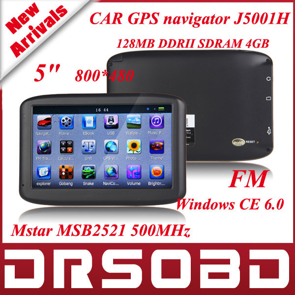 5 inch CAR GPS navigator J5001H TFT Touch Screen 800*480 navigation system 128MB DDRII SDRAM 4GB Mstar MSB2521 500MHz with FM