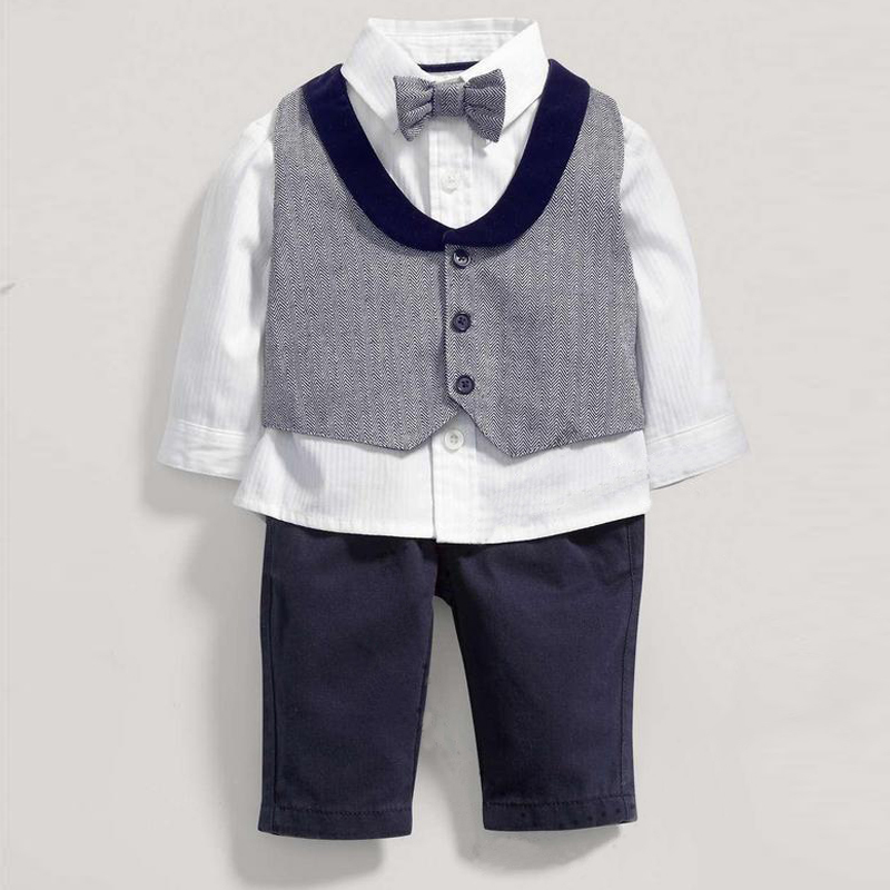 New Handsome Baby Clothing 4pcs Set Jacket+Full Shirt+Trouser +Bow Tie Gentleman Boy Suit Party Formal wear<br><br>Aliexpress