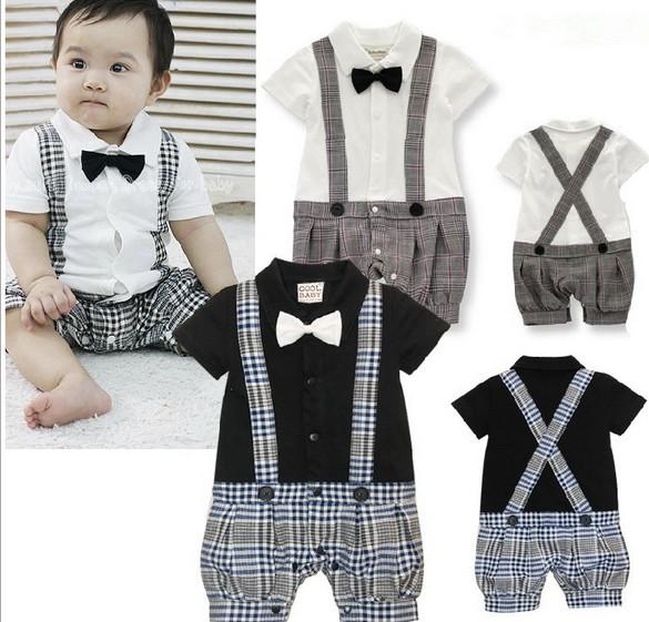 Гаджет  Summer newborn baby Clothing jumpsuit Cotton boys romper short sleeve Baby gentleman Straps Rompers 0-2 years white black None Детские товары