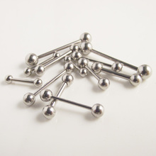 Free Shipping Stainless Steel Barbell 16G labret ring Ear Nail Rings Tongue Nipple Bar Ring Barbell
